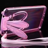 Husa cu urechi de iepuras si snur samsung galaxy s4 - roz - Husa Telefon, Transparent