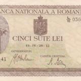 ROMANIA 500 lei 20 aprilie 1942 - filigran vertical XF+++/AUNC!!!