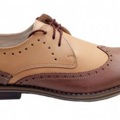 Pantofi barbati casual - eleganti din piele naturala - Oxford 411NISIP, Marime: 39, 40, 42, 43, 44