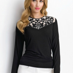 Bluza Sunwear detaliu dantela - P59-5-02 negru - Bluza dama, Marime: 38, 40, 42, 44, 46, 48