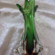 VAZA CRISTAL COLORAT - STICLA DE MURANO TIP SOMMERSO IN DOUA CULORI 28.5 CM - Vaza sticla