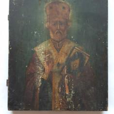 ICOANA VECHE SFANTUL NICOLAE-PICTURA PE LEMN - Icoana pe lemn