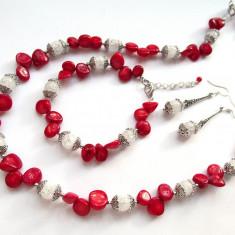 Set coral rosu natural cu cuart de stanca - Set bijuterii handmade si fashion