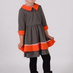 Rochie tricotate - Rochie din tricot Gri cu contrast Portocaliu model 1450 5 ani Art Limited