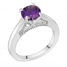 Inel placate cu aur - Inel placat cu aur alb 18K si piatra ametist violet; marime 9