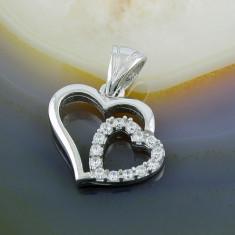 Colier placate cu aur - Pandantiv model Inimi cu Zirconiu, din Argint 925, cod 237