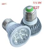 Bec/neon, Becuri economice, 0 - 10, 1000-10000, Interior, E27 - BEC LED LEDURI CASA SPOT E27 5W 5 x 1 W 5 SMD ECHIVALENT 50W ALB WHITE 220V AC