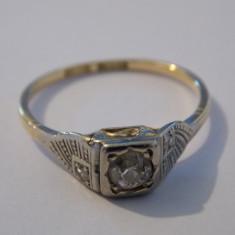 Inel aur 18k si platina cu diamante