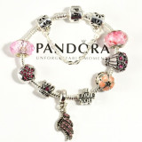 DEOSEBIT! Bratara PANDORA cu charmuri talisman roz incluse - Princess