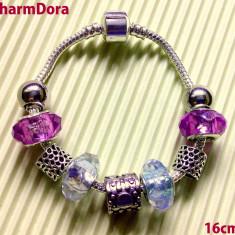 Bratara din argint, Femei - Bratara tip Pandora cu pandantive, talismane si charm-uri