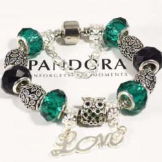 Bratara din argint - Bratara PANDORA cu talismane incluse din cristal verde/negru - Bufnita