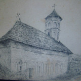 Tablou, Religie, Carbune, Miniatural - Manastirea Stanesti- jud. Valcea, 1917 - St.SACHIM