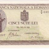 2.Bancnota 500 lei 19 XI 1940, UNC. filigran VERTICAL