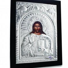 Icoana pe lemn - Iisus Hristos, 25X31cm, Argintie cu Rama Neagra, Dreptunghiulara
