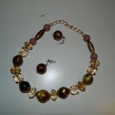 Set cercei si margele, colier, lantisor. Aspect vintage, sidef, pentru doamne - Set bijuterii handmade si fashion