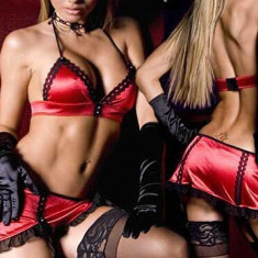 Lenjerie sexy femei - Lenjerie sexy rosie din satin cu fusta