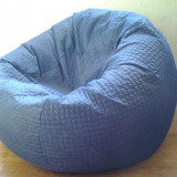 Fotoliu puf albastru, fotolii cu husa detasabila din material textil. - Fotoliu living
