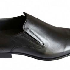 Pantofi barbati - Pantofi negri barbati lux - eleganti din piele naturala cu elastic - Model Valentino