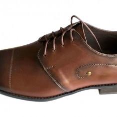 Pantofi barbati lux - eleganti din piele naturala maro cu siret - Model Massimo