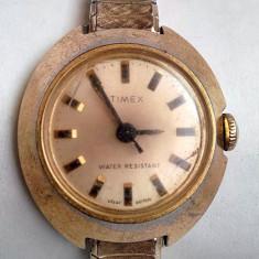 Ceas vintage original Timex Water Resistant Great Britain, bratara Speidel USA - Ceas dama Timex, Elegant, Mecanic-Manual, Placat cu aur, Analog