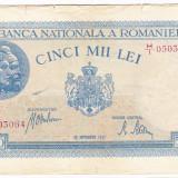 2)Bancnota 5000 lei 28 septembrie 1943 portret Traian+Decebal, An: 1943