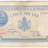 Bancnota 5000 lei 22 august 1944, FOARTE RARA, An: 1944