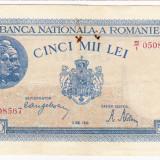 2)Bancnota 5000 lei 2 mai 1944, portret Traian+Decebal