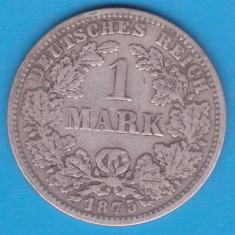 (1) MONEDA DIN ARGINT GERMANIA - 1 MARK 1875, LIT. G, PURITATE 900, NECURATATA, Europa, An: 1875