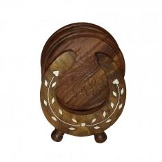 Set 6 suporturi pahare din lemn - potcoava