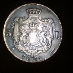 Monede Romania, An: 1901, Cupru-Nichel - 5 lei 1901 replica