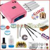 KIT UNGHII FALSE GEL SET MANICHIURA LAMPA UV 36W - Trusa manichiura BeautyUkCosmetics