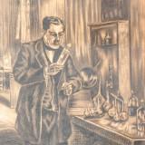 Medicul, desen 1931 de Hans EDER - Pictor roman, Portrete, Carbune, Avangardism