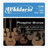 Corzi chitara acustica D'addario EJ16 Phosphor Bronze, Light, 12-53