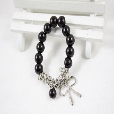 Bratara din argint, Unisex - Bratara cu perle negre si funda argintie