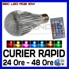 Bec/neon ZDM, Becuri economice, 0 - 10, > 10000, Interior, E27 - BEC LED E27 10W RGB MULTICOLOR - CU TELECOMANDA - 16 CULORI - 220V