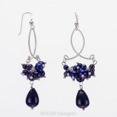 Cercei argint - Cercei candelabru din argint cu margele de lapis lazuli