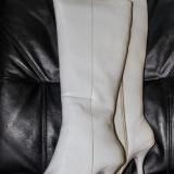 Cizme dama, Piele naturala - Cizme de damă - albe - PIELE NATURALĂ- NOI