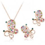 Set bijuterii Butterfly cu cristale multicolore, placat cu aur 18K si garantie 6 luni
