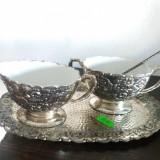 Metal/Fonta - Serviciu vechi pentru cafea latiera zaharnita si tavita
