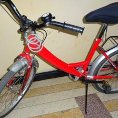 Bicicleta DHS copii 7-12 ani, rosie + accesorii - Bicicleta copii DHS, 16 inch, 20 inch, Otel, Fixa