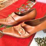 PANTOFI PIELE SALLY O'HARA-39/40 - Pantof dama, Marime: 39.5, Culoare: Coniac, Piele naturala