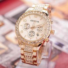 Ceas de Dama Geneva - Ceas dama FASHION curea metal auriu cristale + cutie simpla cadou