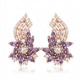 Cercei Splendid Flower cu cristale violet, placati cu aur 18k, garantie produs 6 luni de zile