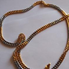 Lantisor placate cu aur, Barbati, 9K - Lantisor barbatesc 9k, aur galben alb + cadou