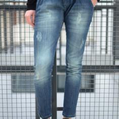 Jeansi cu aspect uzat. Cu pliuri in fata si elemente decorative. - Pantaloni dama, Marime: S, Culoare: Albastru, Lungi, Bumbac