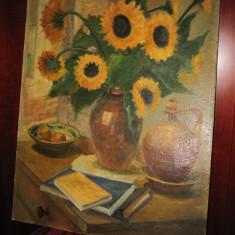 Natura moarta cu floarea soarelui - Pictor roman, Natura statica, Ulei, Altul