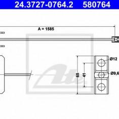 Cablu, frana de parcare RENAULT TRAFIC II platou / sasiu 2.5 dCi 135 - ATE 24.3727-0764.2