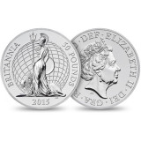 Marea Britanie moneda 50 Pounds 2015 Ag 999 / 31 gr. - in folder - RAR