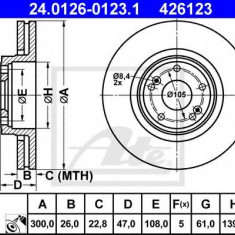 Disc frana RENAULT LAGUNA II 1.6 16V - ATE 24.0126-0123.1 - Discuri frana REINZ