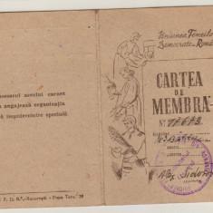 Carnet de membra Uniunea Femeilor Democrate din Romania (1948)